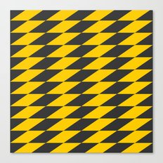 Slanted Checkers Black & Yellow Canvas Print