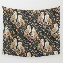 Wooden Wonderland Barn Owl Collage Wall Tapestry