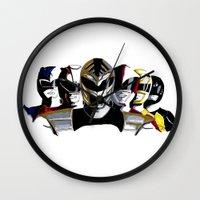 power rangers Wall Clocks featuring Power Rangers by SquidInkDesigns