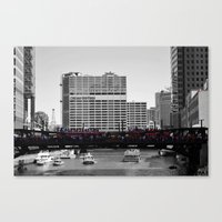 blackhawks Canvas Prints featuring Chicago Blackhawks 2013 Championship Parade Route by Michael A. Hubatch