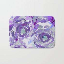 Purple Haze Painterly Floral Abstract Bath Mat