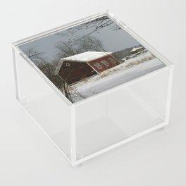 Red Barn in Snow Acrylic Box