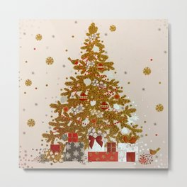 Cozy Christmas Gold Glittered Tree Presents Metal Print