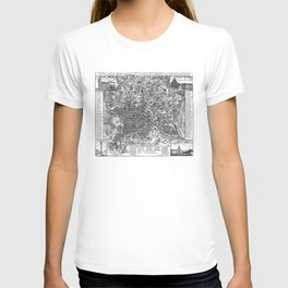 Vintage Map of Rome Italy (1721) BW T-shirt