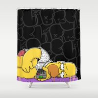 homer Shower Curtains featuring Homer not Depress(Black) by wedrawpop