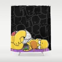 homer Shower Curtains featuring Homer not Depress(Black) by wedrawpop