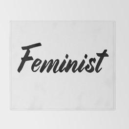 Feminist (on white) Throw Blanket