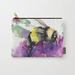 Bumblebee and Thistle Flower, honey bee floral Carry-All Pouch