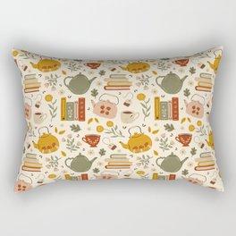 Flowery Books and Tea Rectangular Pillow