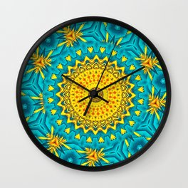 Birds of Paradise Circular Geometric Blended Floral Pattern \\ Yellow Green Blue Teal Color Scheme Wall Clock