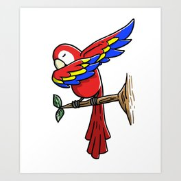 Funny Dabbing Parrot Bird Pet Dab Dance Art Print