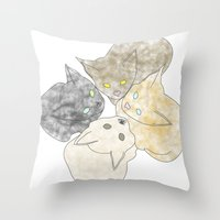 kittens Throw Pillows featuring kittens by GPM Arts