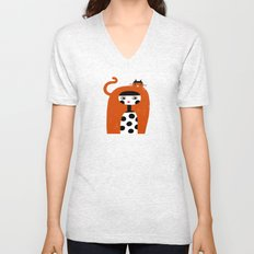 ORANGE LONG HAIR Unisex V-Neck