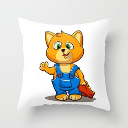 Cartoon baby cat with blanket Throw Pillow