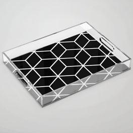 Black and White - Geometric Cube Design II Acrylic Tray