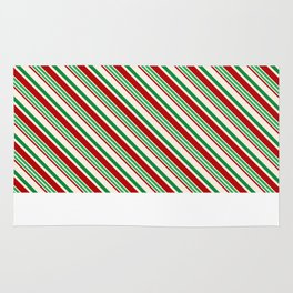 Candy Cane Stripes Red Green and Cream Rug
