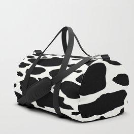 black and white animal print cow spots Duffle Bag