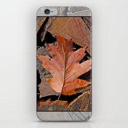 FIREWOOD AND AUTUMN OAK LEAF iPhone Skin