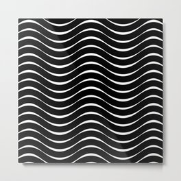 Vector Black and White Thick Wavy Lines Pattern Metal Print