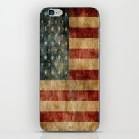american flag iPhone & iPod Skins featuring American Flag by KOverbee