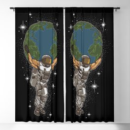Astronaut Lifts The Globe | Save The Earth Blackout Curtain