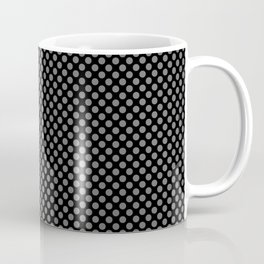 Black and Steel Gray Polka Dots Coffee Mug