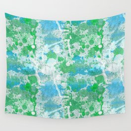 Abstract Paint Splatters Blue and Green Wall Tapestry