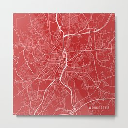 Worcester Map, USA - Red Metal Print