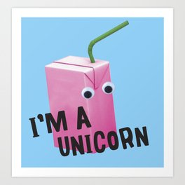 unicorn juice box Art Print