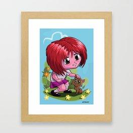 Little cartoon manga girl stroking pet cat Framed Art Print
