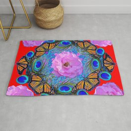 MONARCH BUTTERFLIES & ROSES  PEACOCK ART & RED ABSTRACT Rug