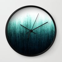teal Wall Clocks featuring Teal Ombré by Caitlin Workman