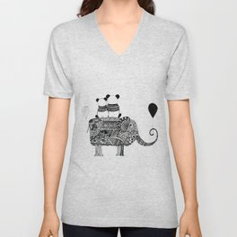 Panda. Love. Elephant travel Unisex V-Neck