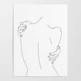 Nude womans back line drawing - Fay Poster