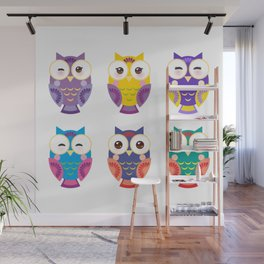 bright colorful owls on white background Wall Mural