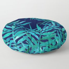 Watercolor Palm Leaves on Navy Floor Pillow