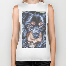 Beautiful black and tan Cavalier King Charles Spaniel Dog Painting by L.A.Shepard Biker Tank