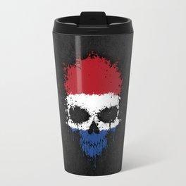 Flag of The Netherlands on a Chaotic Splatter Skull Travel Mug