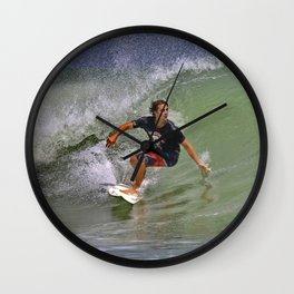 September Ponce Inlet Surfer Wall Clock