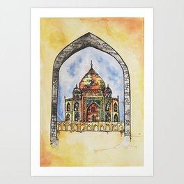 Taj Mahal Illustration Art Print