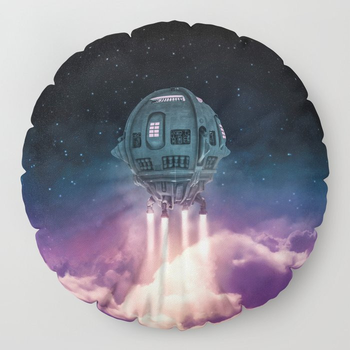 Out of the atmosphere / 3D render of spaceship rising above clouds Floor Pillow