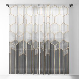 Charcoal Hexagons Sheer Curtain