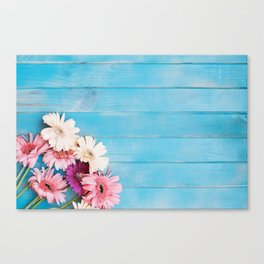 Flowers x Faded Blue Wood Canvas Print