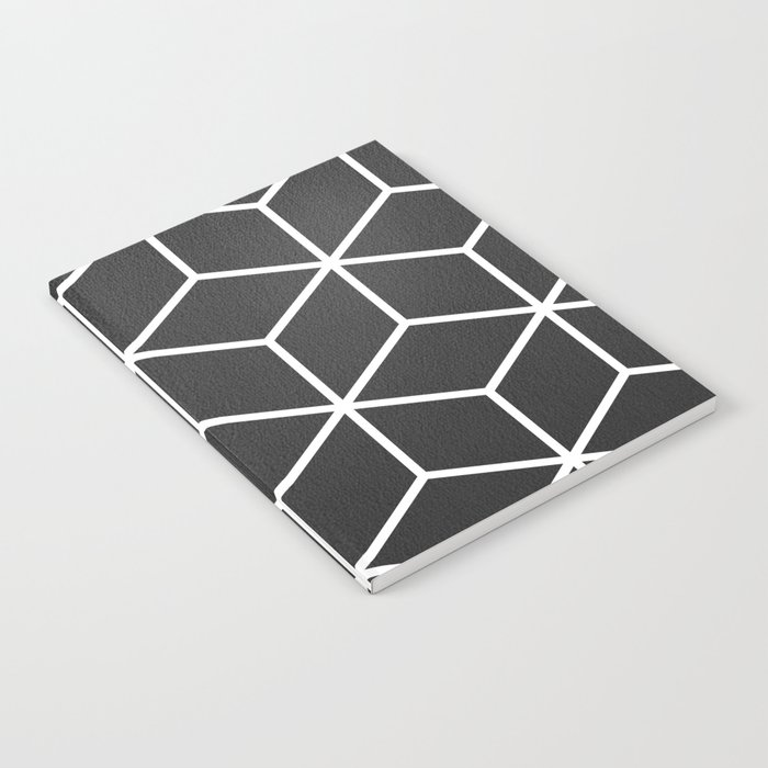 Charcoal and White - Geometric Textured Cube Design Notebook