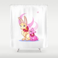 sailormoon Shower Curtains featuring Moon Rabbits by Becky Hopkins