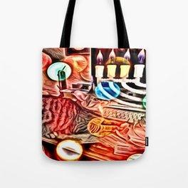 Color Chrome Chanukah Cat Tote Bag