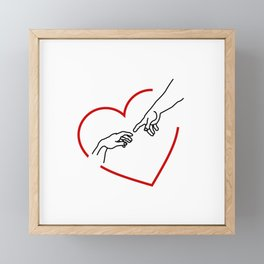 The creation of Adam- The hands of God and Adam within a red heart Framed Mini Art Print