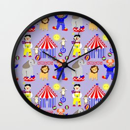 Circus Clowns And Cartoon Animals Kids Cute Nursery Design Wall Clock