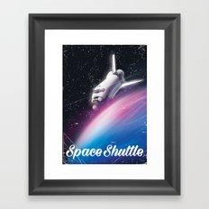 American Space Shuttle Retro Poster Framed Art Print