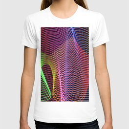 wavy rainbow light painting T-shirt